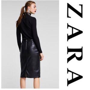 Zara - Vegan Leather Midi Skirt